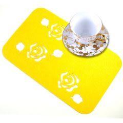 長方形鏤空時尚毛氈多功能墊 杯墊 隔熱墊 餐墊 (黃色玫瑰)-艾發現