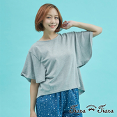【Tiara Tiara】蝴蝶袖長短版單色上衣(藏青/中性灰/大地駝)