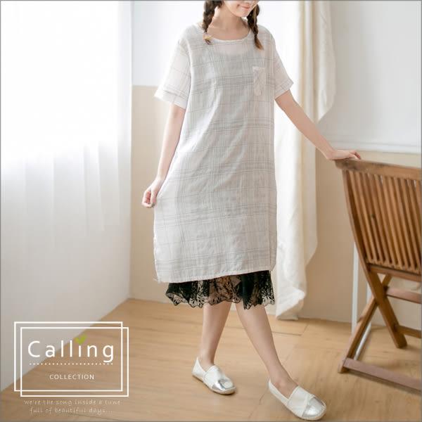 洋裝 - 細線格紋樂活森林系棉麻長版衫 三色 Calling1230