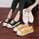 PAPORA綁帶休閒帆布鞋K1933白/黃/黑(偏小)