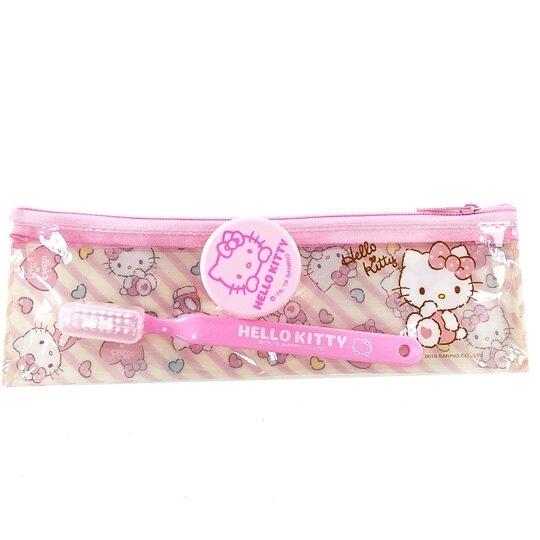 小禮堂 Hello Kitty 旅行牙刷組 牙刷袋 乳液盒 盥洗組 附牙刷蓋 (粉黃 斜紋) 5712977-15882
