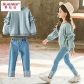 女童休閒套裝 兩件套裝洋氣時髦2019春裝秋新款時尚寶寶韓版 BT2157『寶貝兒童裝』