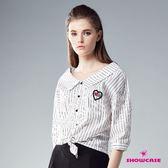 【SHOWCASE】OL嚴選V領條紋七分袖襯衫(白)