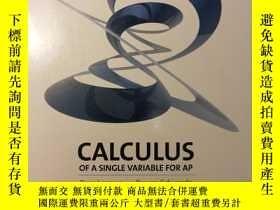 二手書博民逛書店CALCULUS罕見OF A SINGLE VARIABLE FOR AP精裝, 一 微積分學AP(美國大學先修課