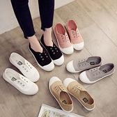 小白鞋 2021春季新款一腳蹬懶人鞋帆布鞋女百搭小白鞋夏學生平底休閑板鞋 薇薇