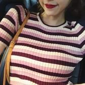 韓版女裝時尚短袖針織衫女夏2019新款百搭修身顯瘦圓領條紋上衣潮
