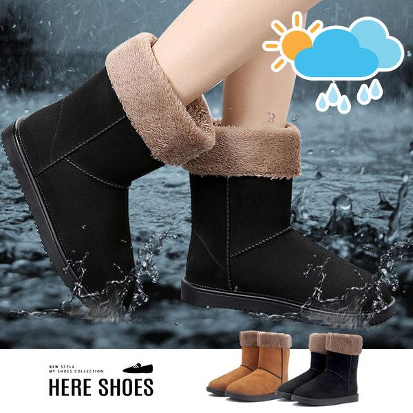 [Here Shoes]雨靴短筒加棉可拆卸內裡時尚防潑水鞋女士成人中筒防滑保暖雪靴雨鞋─KWR350