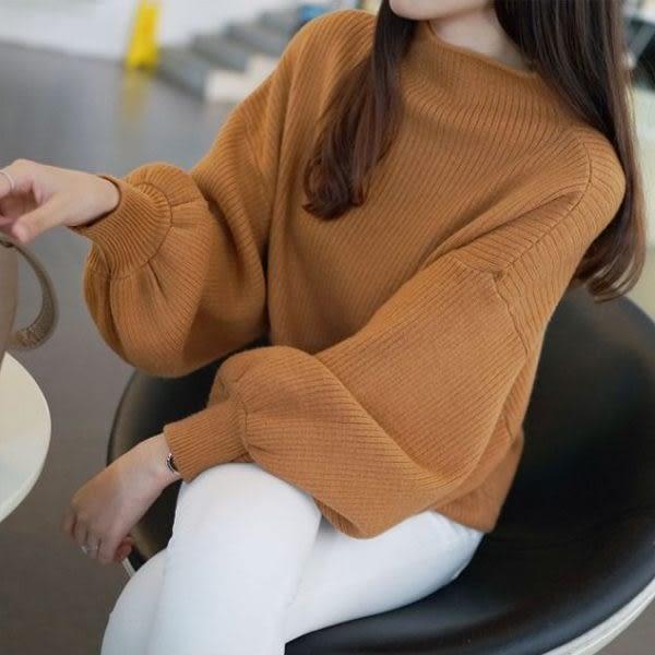 梨卡★現貨 - 韓版高領舒適蝙蝠衫燈籠袖毛衣針織衫B405