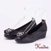 kadia.圓型飾扣楔型厚底真皮跟鞋(9021-90黑色)