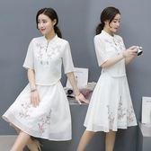 2018春夏季新款時尚民族風繡花上衣 半身裙兩件式禪服套裝 DN12380【大尺碼女王】