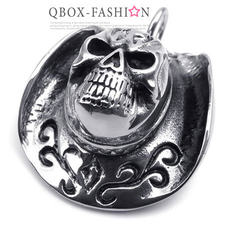 《QBOX 》FASHION 飾品【W10022354】精緻個性骷髏頭牛仔帽鑄造316L鈦鋼墬子項鍊(推薦)