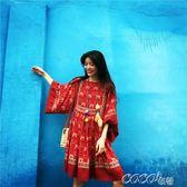 名族風洋裝 寬鬆圓領大蝙蝠袖紅色波西米亞短款連身裙 coco衣巷