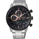 SEIKO精工 CS 城市系列計時手錶-黑x銀/42mm 8T67-00G0K(SSB331P1)