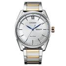 【台南 時代鐘錶 CITIZEN】星辰 羅馬字菱格紋 光動能日期顯示 鋼錶帶男錶 AW0084-81A 銀 42mm