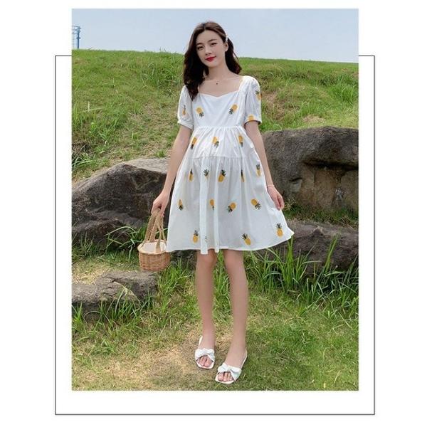 漂亮小媽咪 韓式 繡花 洋裝 【D7201】 PINEAPPLE 刺繡 鳳梨 水果 短袖 洋裝 孕婦裝