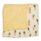 美國 Little Unicorn 竹纖維四層紗布毯/冷氣毯/毯子~金鑽鳳梨(精美禮盒裝)