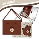 imitu 【LINE FRIENDS】[組合1+1 ] 熊大平板側背包(中)+平板套 (咖/米白)