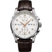 Hamilton 漢米爾頓 JAZZMASTER 時尚達人計時機械腕錶-白x咖啡/45mm H32766513