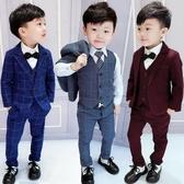 兒童禮服男童禮服英倫格子小西裝3兒童馬甲三件套5春秋4歲男孩7花童套裝6【快速出貨】
