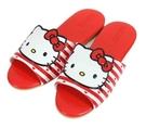 (e鞋院)HELLO KITTY- 紅心條紋室內皮拖鞋