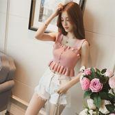 針織短款外穿小背心女(7色)新款韓版純色木耳邊吊帶上衣