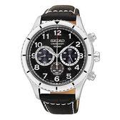 【時間光廊】SEIKO 精工錶 三眼計時秒錶 黑面 皮帶 全新原廠公司貨 SRW037P2