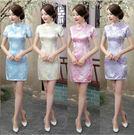 旗袍洋裝  大碼禮儀短款梅花改良復古短袖...