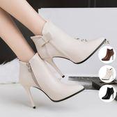 YAHOO618◮短靴女細跟高跟鞋秋冬新款歐美時尚簡約尖頭馬丁靴加絨及踝靴 韓趣優品☌