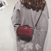 上小包包新女時尚鉚釘漆皮手提小方包單肩斜背包 盯目家