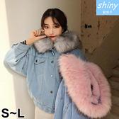 【V9066】shiny藍格子-保暖搭配.冬裝羊羔毛大毛領牛仔外套