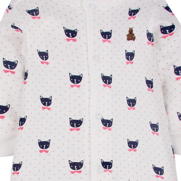 女Baby女童長袖連身衣白色雙層棉連身衣可愛貓咪印花厚棉連身衣現貨歐美品質