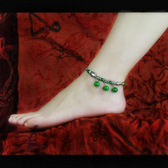 腳錬天然水晶綠瑪瑙苗銀小魚響鈴女款復古中國風飾品手工時尚新品