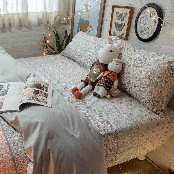 青花瓷 K2 King Size床包薄被套四件組 純精梳棉 台灣製