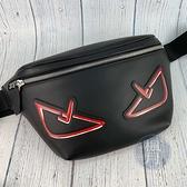 BRAND楓月 FENDI芬迪 7VA434 怪獸 眼睛 造型 黑色 皮革 腰包 側背包 肩背包