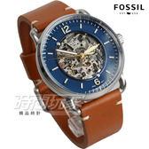 FOSSIL 歐美經典鏤空機械真皮腕錶 男錶 防水手錶 藍面x橘棕 ME3159【時間玩家】