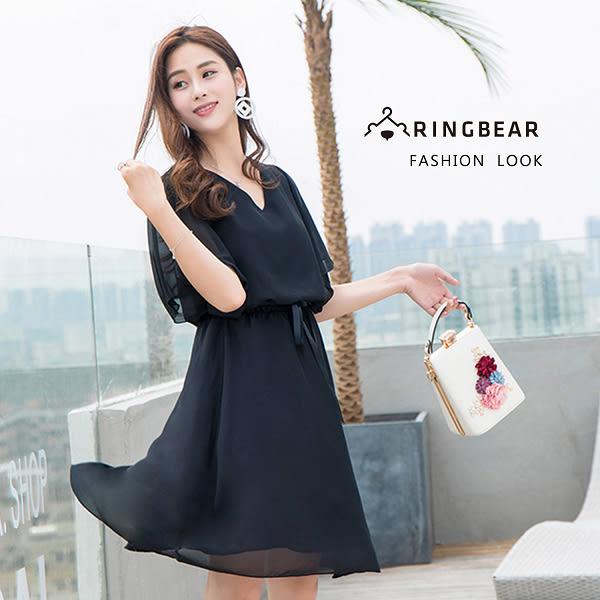 氣質洋裝--時尚優雅浪漫荷葉袖顯瘦腰帶素色V領短袖雪紡洋裝(黑L-3L)-D491眼圈熊中大尺碼