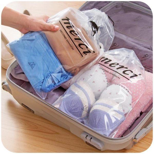 [超豐國際]透明收納袋旅行防水裝衣服袋子內衣收納包束口袋收納整理袋