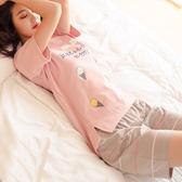 【新年鉅惠】睡衣女夏純棉短袖清新可愛學生少女薄款全棉夏天正韓家居服套裝粉