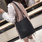 chic水桶包包女潮單肩包女大包pu韓版新款學生簡約百搭時尚 雲雨尚品