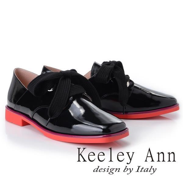 ★2018秋冬★Keeley Ann個性玩酷~視覺系拼接綁帶方頭低跟漆皮鞋(黑色) -Ann系列