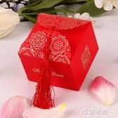 緣糖盒創意中國風裝糖袋流蘇喜糖盒子方形紙糖盒婚禮喜糖袋子 蓓娜衣都