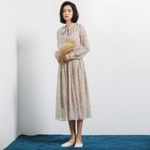 長袖洋裝-印花雪紡綁帶收腰連身裙73xm16[時尚巴黎]