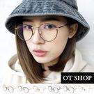 OT SHOP眼鏡框‧時尚潮流拼色細鏡圓型鼻墊流行平光眼鏡‧六色‧現貨‧S23