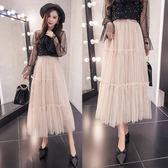 百搭新鬆緊腰純色含內襯拼接網紗中長半身裙女 可然精品鞋櫃