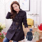 大衣--雙重顯瘦效果-韓版修身款雙排釦附腰帶長版大衣(黑.卡其2L-5L)-J168眼圈熊中大尺碼