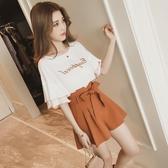 2020夏季新款韓版學生時尚兩件套裝女韓版閨蜜小香風上衣短褲港味