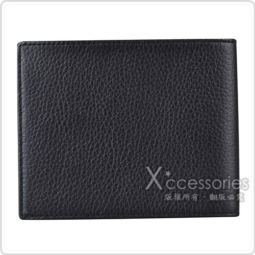 萬寶龍MONTBLANC大班系列6卡荔枝紋牛皮對折短夾(黑)