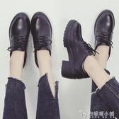 秋季新款韓版百搭黑色英倫風小皮鞋女厚底單鞋粗跟鞋女鞋秋鞋 安妮塔小舖