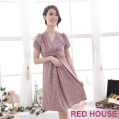 【RED HOUSE 蕾赫斯】V領修身洋裝(橘色)