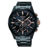 SEIKO 精工 criteria 新款太陽能三眼計時碼錶V175-0ER0SD(SSC695P1) 黑x玫瑰金